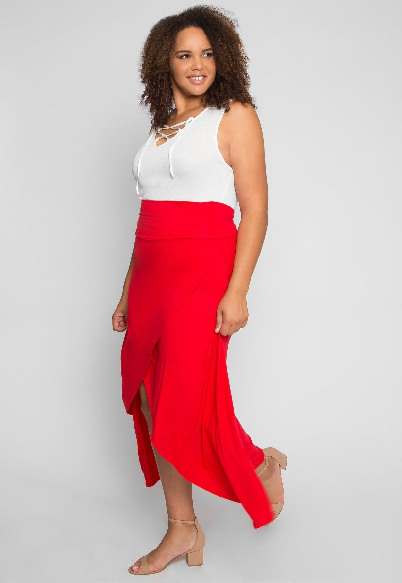 Plus Size Sultry Wrap Skirt in Red - Plus Bottoms - Wetseal