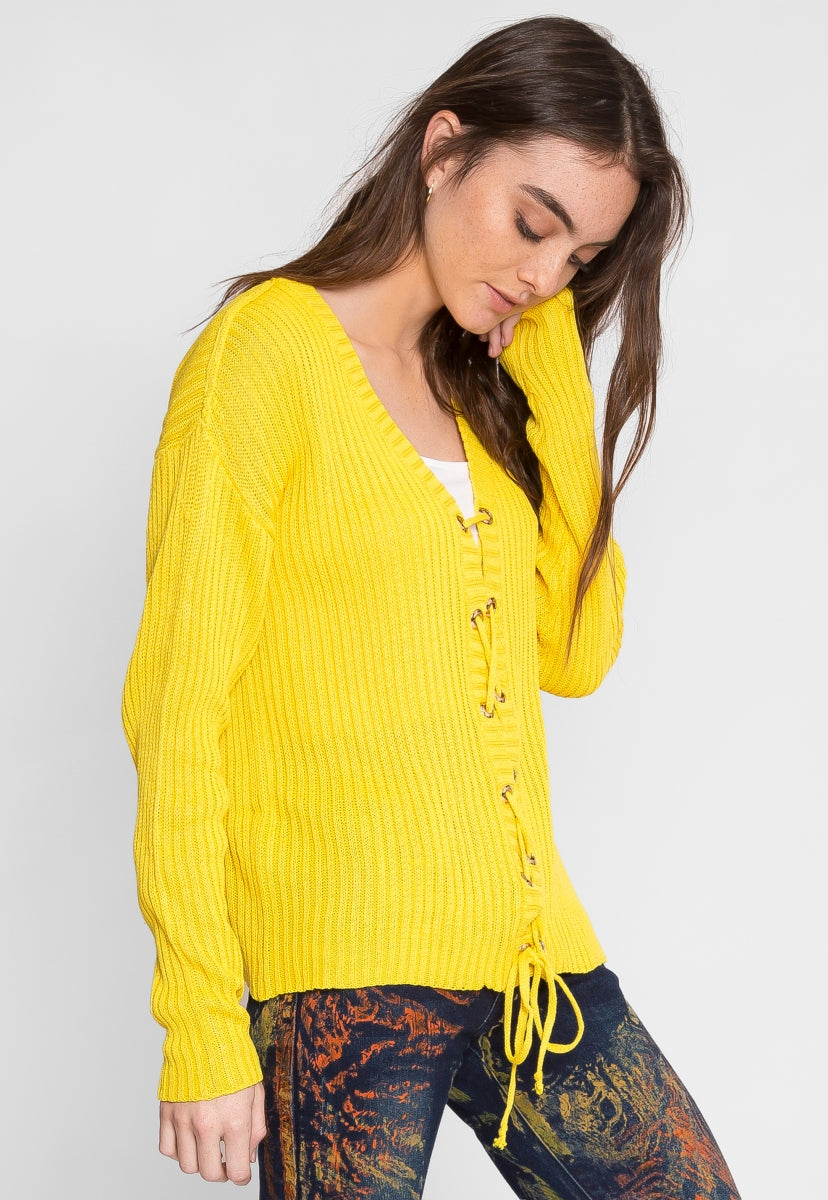 Richland Lightweight Lace Up Sweater - Sweaters & Sweatshirts - Wetseal