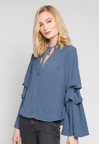 Bella Layered Sleeve Blouse in Navy