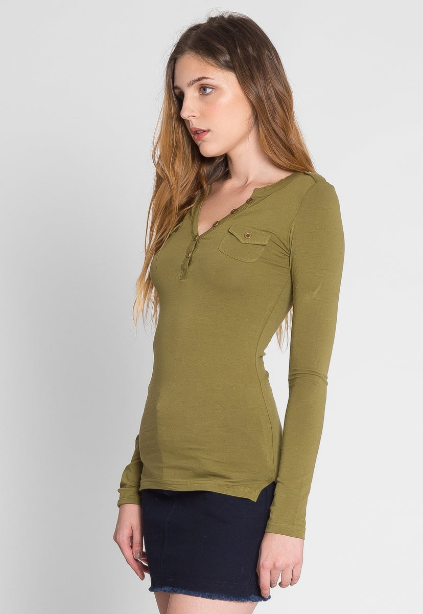 Casual Day Henley Top in Green - Shirts & Blouses - Wetseal