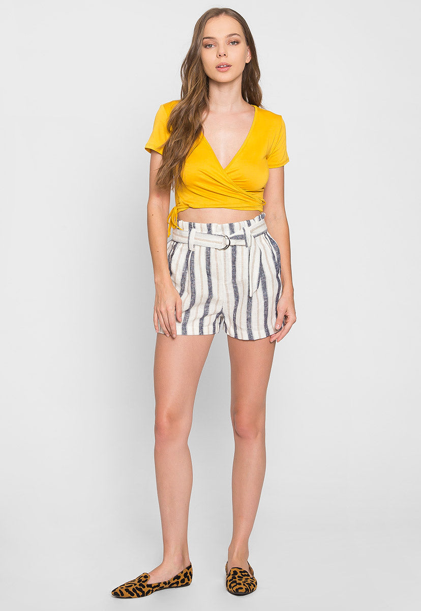 Beach Day Stripe Linen Shorts in Blue - Short - Wetseal