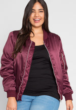 Plus Size Nevada Satin Jacket in Burgundy