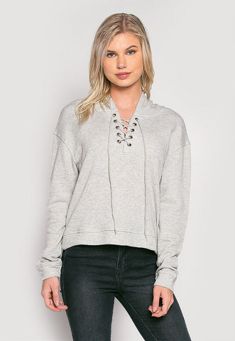 Helen Lace Up Hoodie in Gray