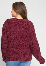 Plus Size V-Neck Chenille Sweater in Wine