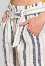 Beach Day Stripe Linen Shorts in Blue