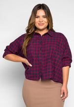 Plus Size Red Maple Chest Pocket Plaid Shirt