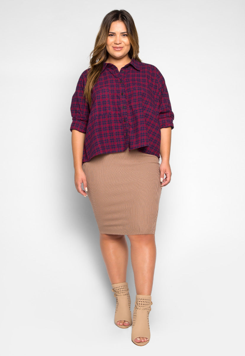 Plus Size Red Maple Chest Pocket Plaid Shirt - Plus Tops - Wetseal