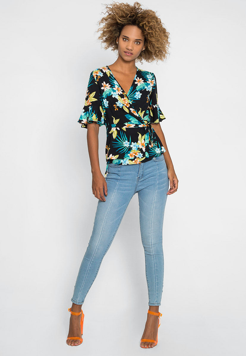 Polly Tropic Floral Wrap Dress - Shirts & Blouses - Wetseal