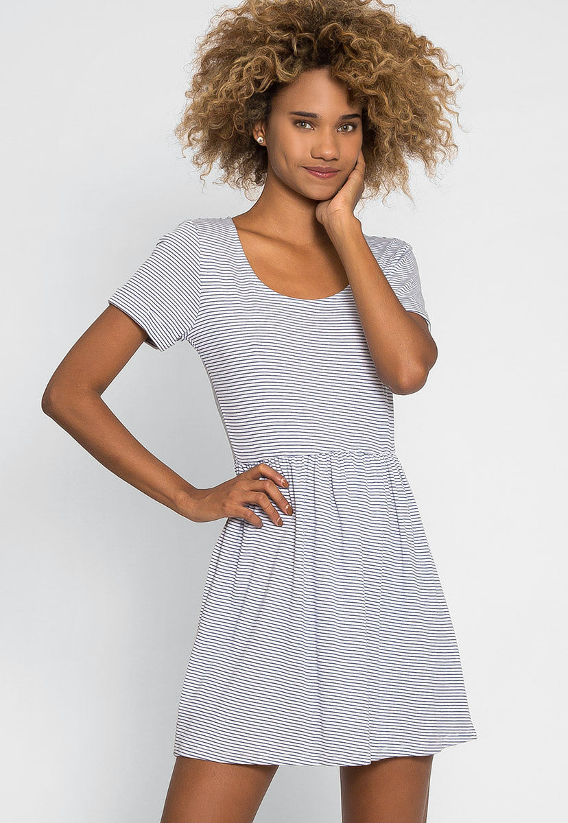Maddie Stripe Flare Dress - Dresses - Wetseal