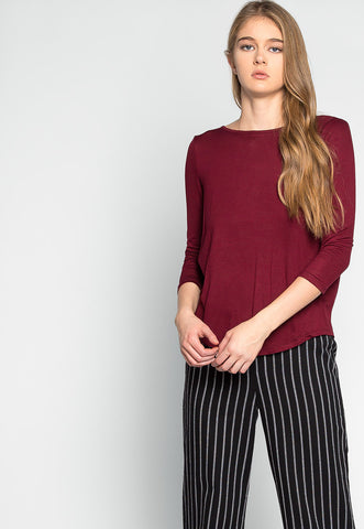 Popsicle Open Back Knit Top in Burgundy