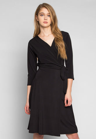 Close to Me Wrapped Dress in Black