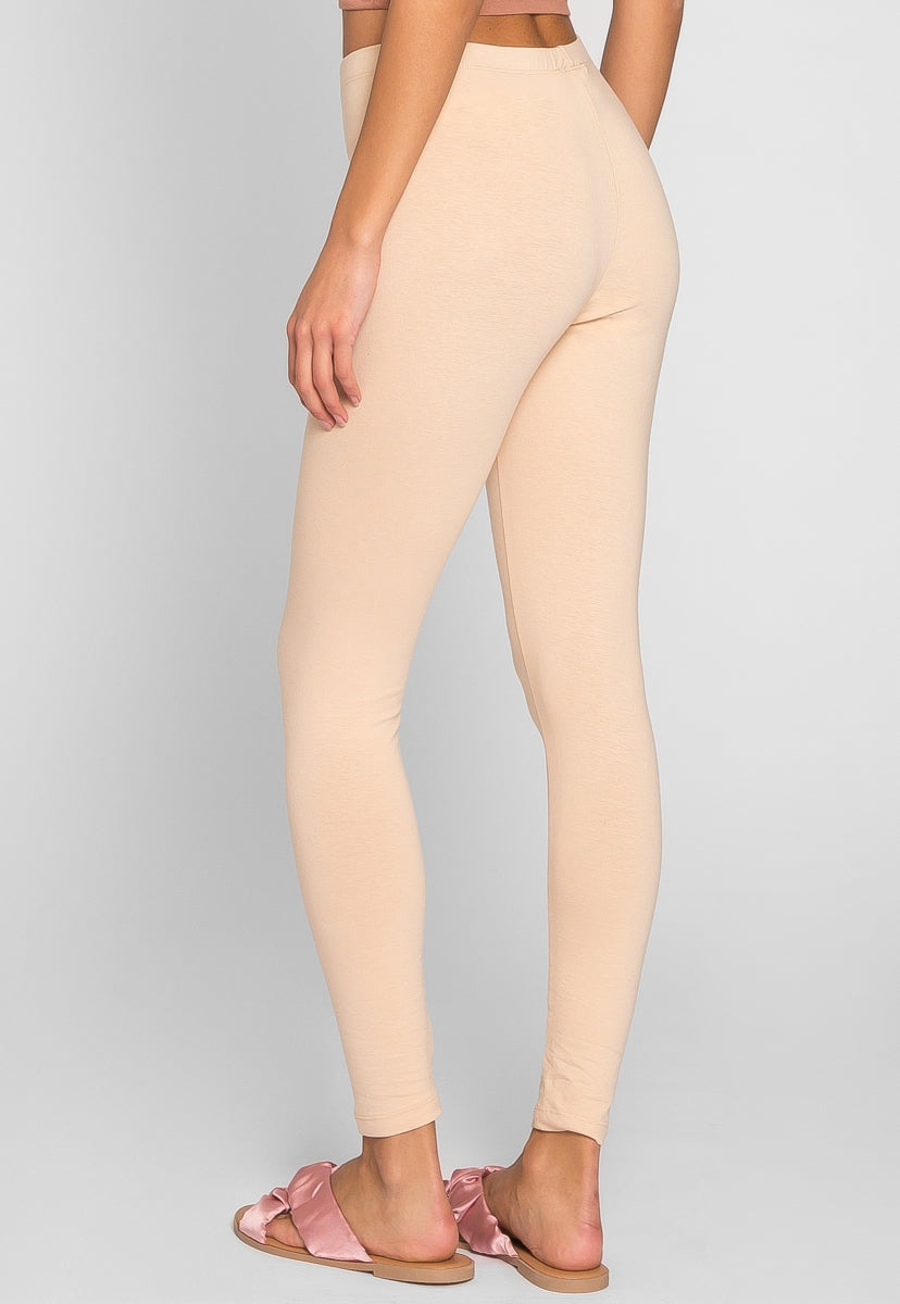 Janis Cotton Leggings in Sand - Pants - Wetseal