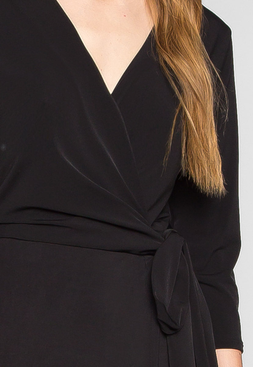 Close to Me Wrapped Dress in Black - Dresses - Wetseal