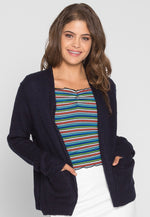 Freedom Textured Cardigan in Navy
