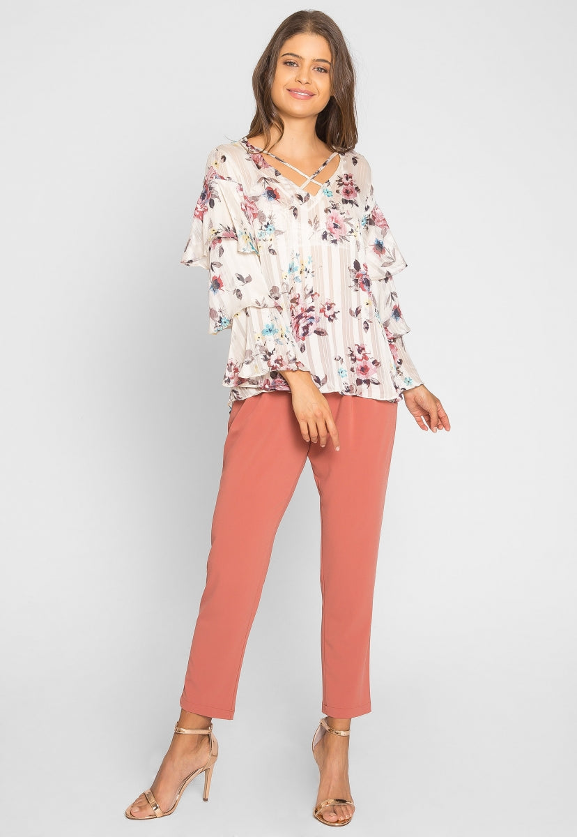 Marvelous Floral Ruffle Sheer Blouse - Shirts & Blouses - Wetseal