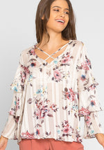 Marvelous Floral Ruffle Sheer Blouse