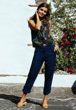 Andi High Waist Rayon Pants in Navy