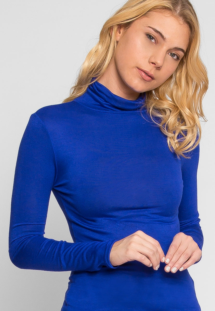 Avenue Turtleneck Top in Royal - T-shirts - Wetseal