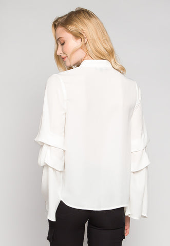 Bella Layered Sleeve Blouse in White
