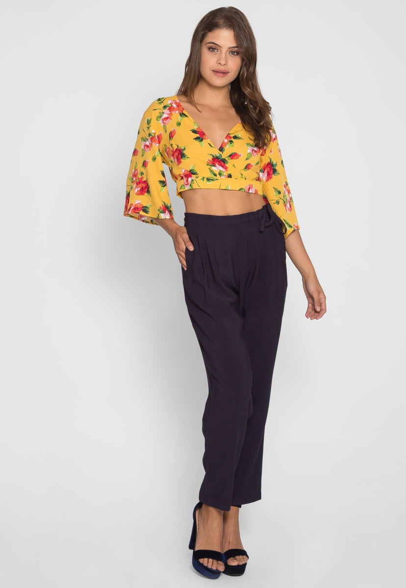 Fresh Mist Floral Blouse in Yellow - Crop Tops - Wetseal