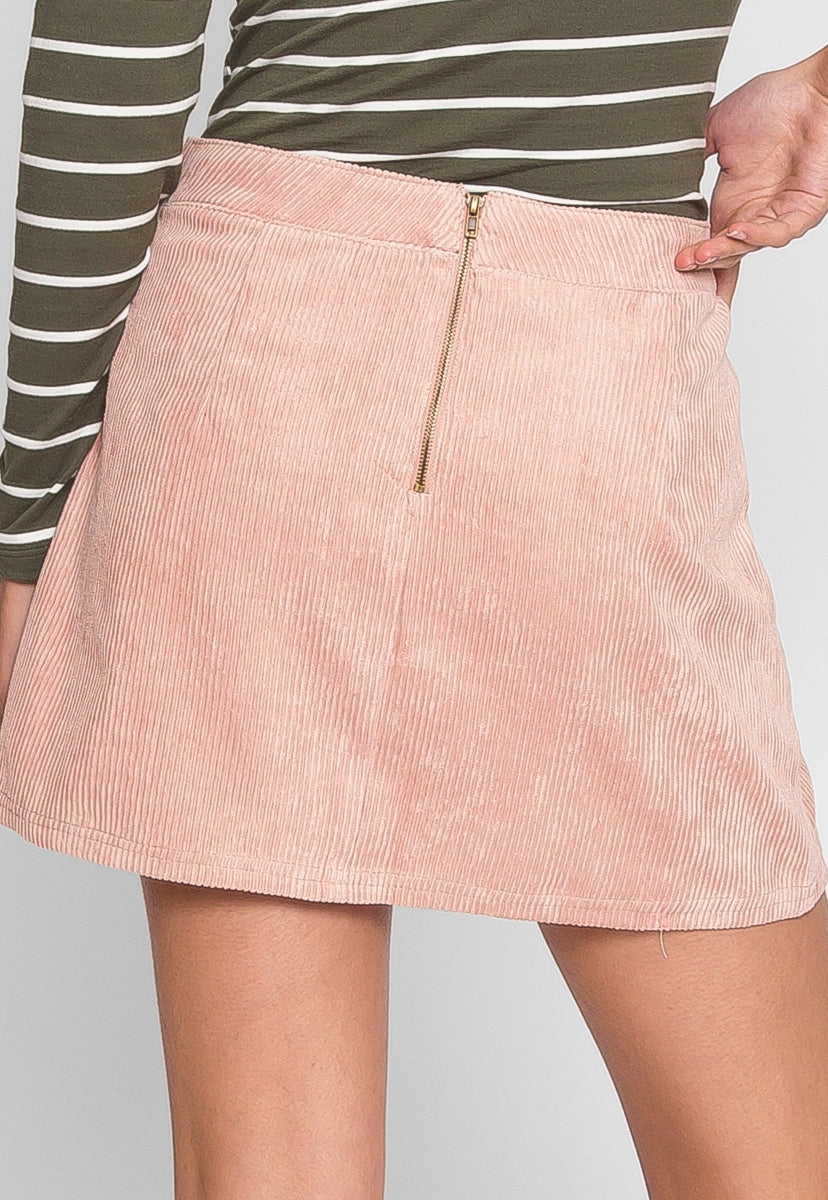 Camping Trip Corduroy Skirt in Light pink - Skirts - Wetseal