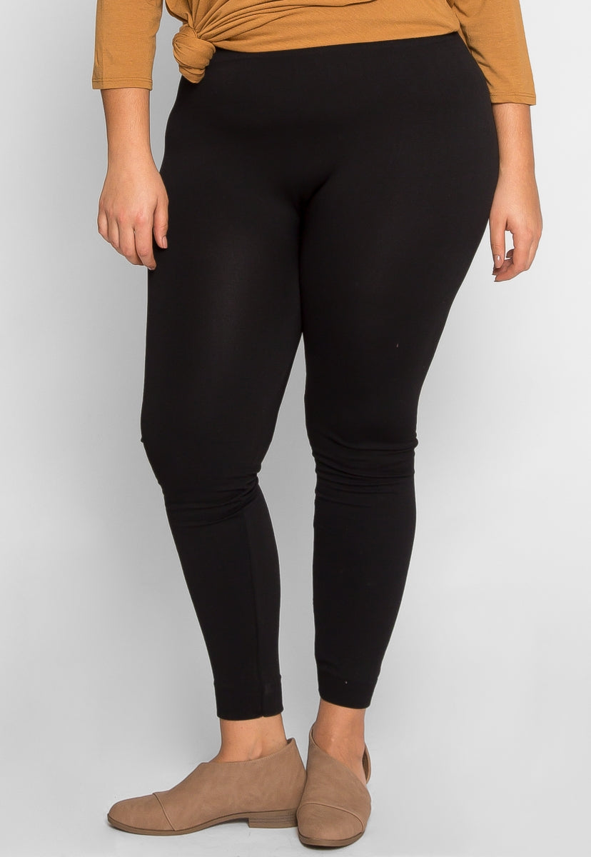Plus Size Charming Fleece Lined Leggings in Black - Plus Bottoms - Wetseal