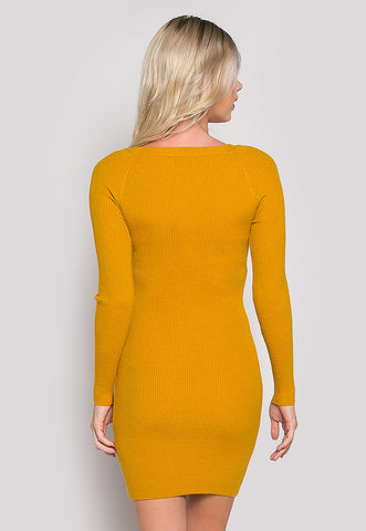 Risky Girl Ribbed Knit Dress in Mustard