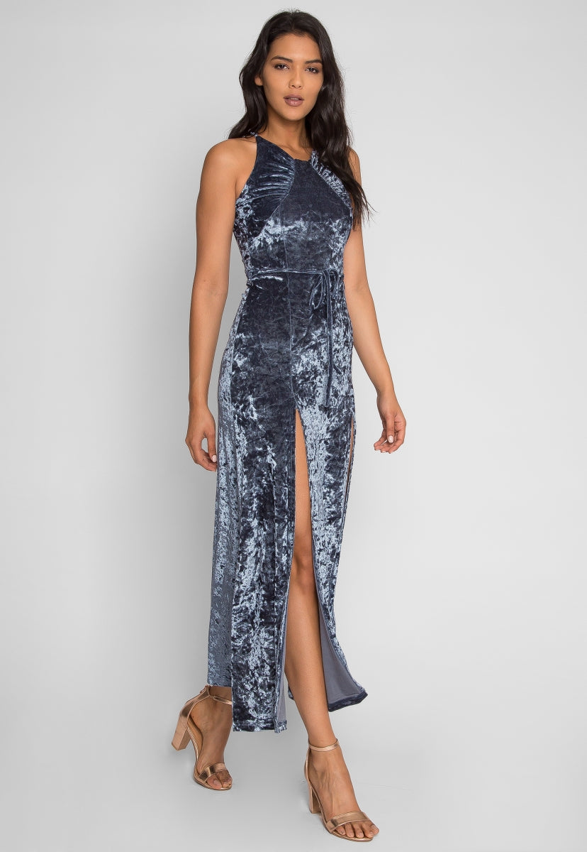 Waves Crushed Velvet Maxi Dress - Dresses - Wetseal