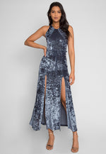 Waves Crushed Velvet Maxi Dress