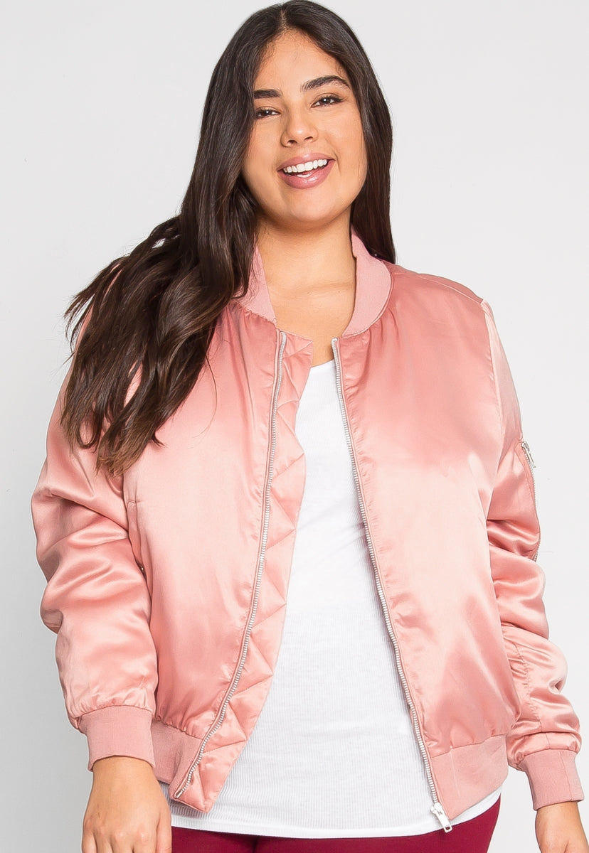 Plus Size Nevada Satin Jacket in Mauve - Plus Outerwear - Wetseal