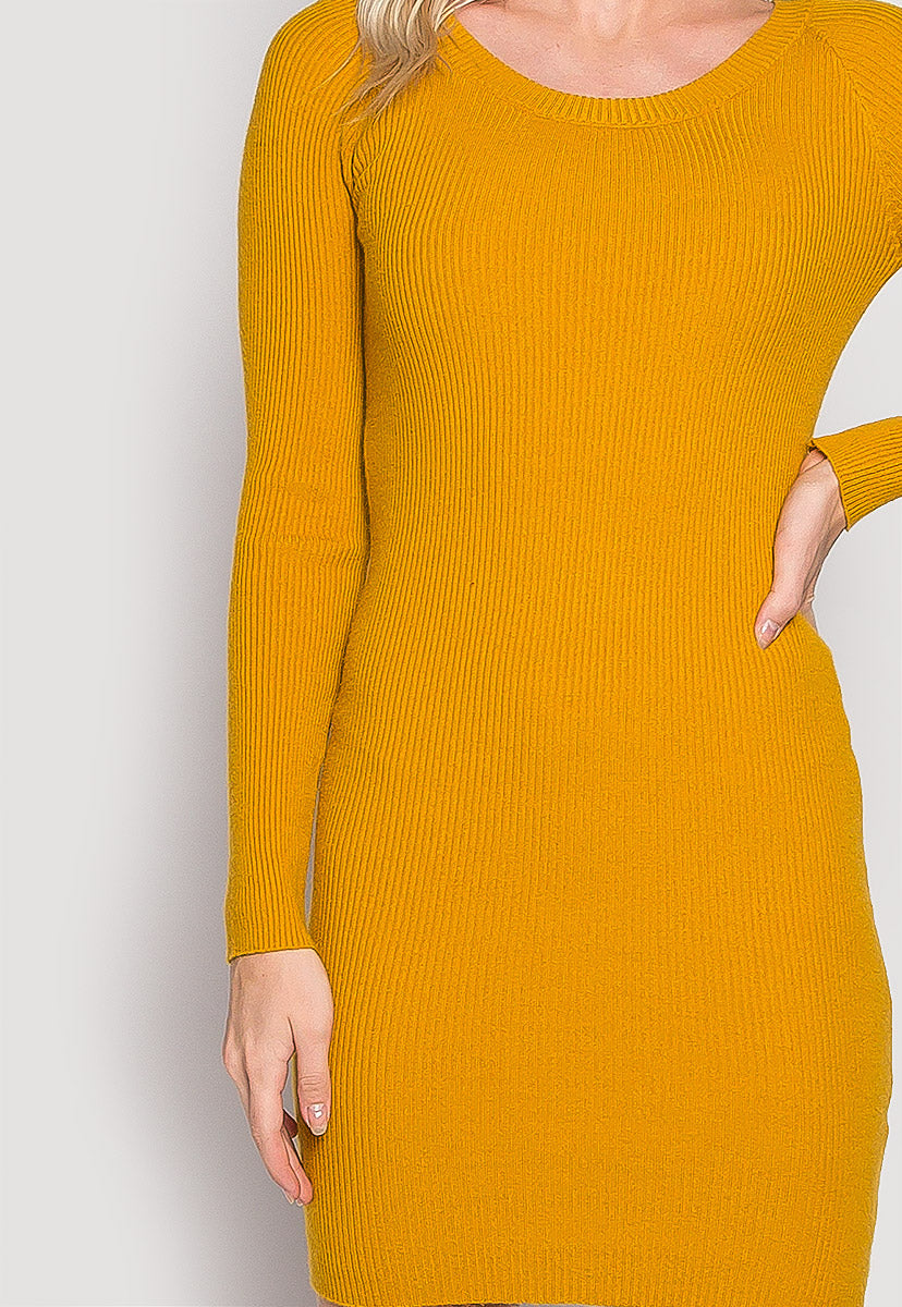 Risky Girl Ribbed Knit Dress in Mustard - Dresses - Wetseal