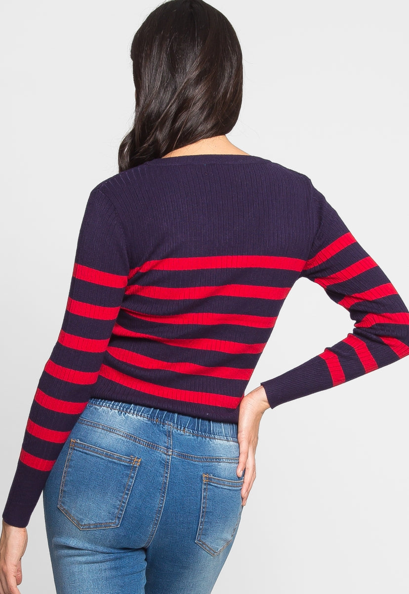 All Aboard Stripe Sweater in Navy - Sweaters & Sweatshirts - Wetseal