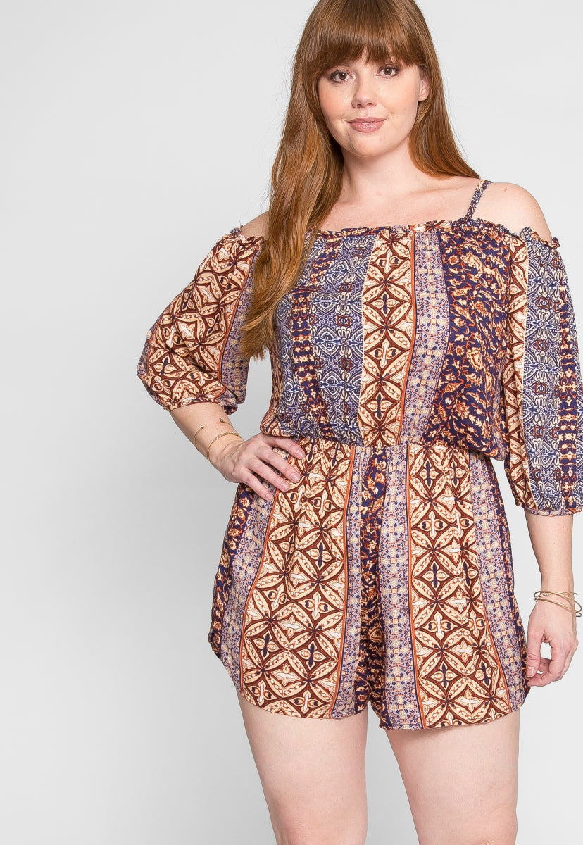Plus Size Adventure Off Shoulder Romper - Plus Rompers & Jumpsuits - Wetseal