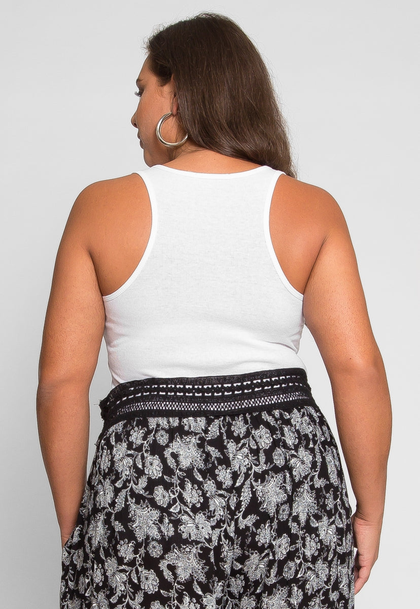 Plus Size Racerback Tank Top in White - Plus Tops - Wetseal