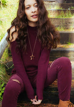 Frozen Cold Shoulder Sweater in Burgundy