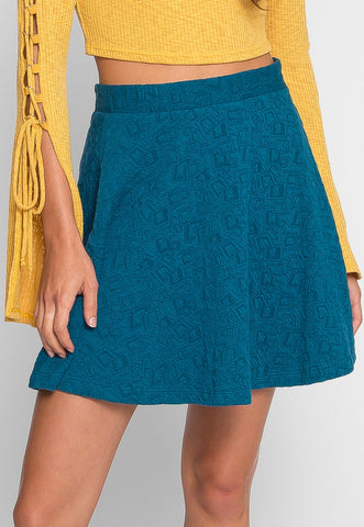 Azure Textured Skater Skirt