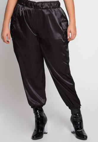 Plus Size Margot Satin Cargo Pants