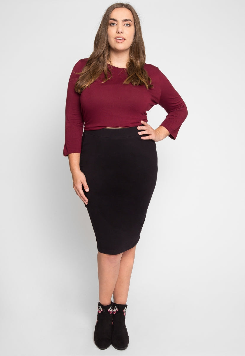 Plus Size Basic Knit Skirt in Black - Plus Bottoms - Wetseal