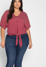 Plus Size Acting Up Stripe Cardigan in Burgundy