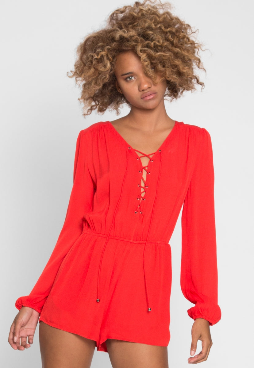 Sassy Lace Up Romper - Rompers & Jumpsuits - Wetseal
