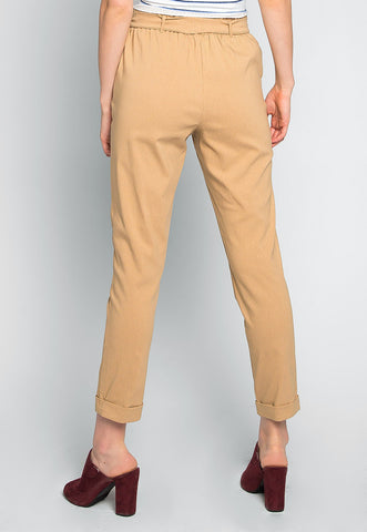 Pretty Things Paper Waist Pants in Brown