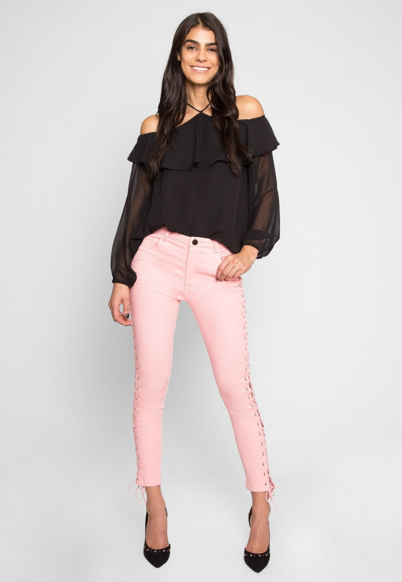 Side Lace Up Skinny Jeans in Pink - Jeans - Wetseal