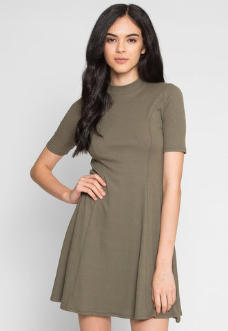 May Mock Neck Fit and Flare Dress in Olive