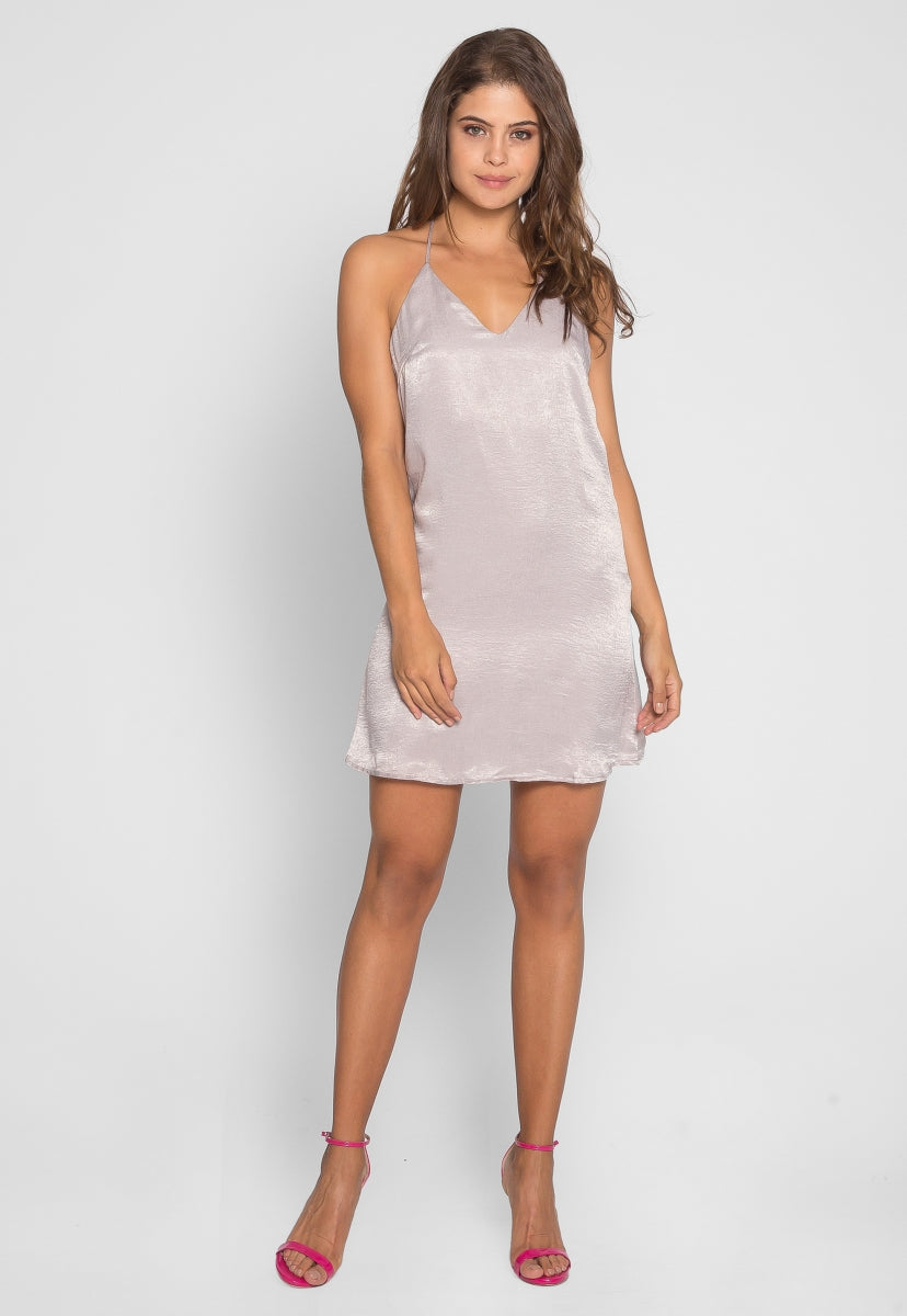 So Cool Mini Slip Dress in Gray - Dresses - Wetseal
