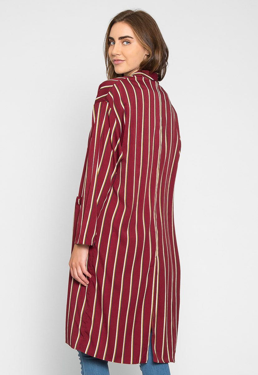 Rumors Longline Stripe Kimono in Wine - Jackets & Coats - Wetseal