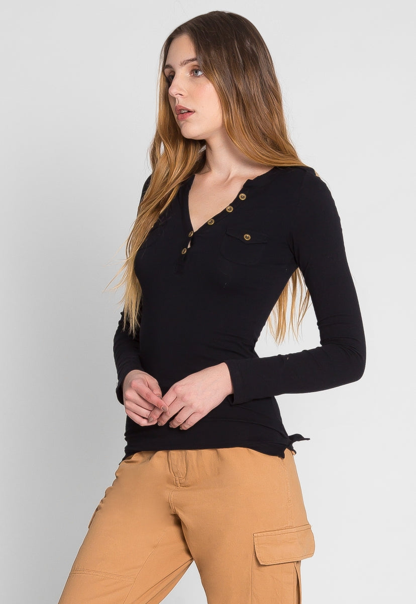 Casual Day Henley Top in Black - Shirts & Blouses - Wetseal