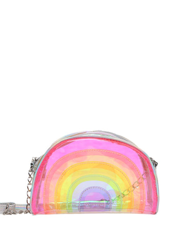 Rainbow Stripe Clear Crossbody Bag