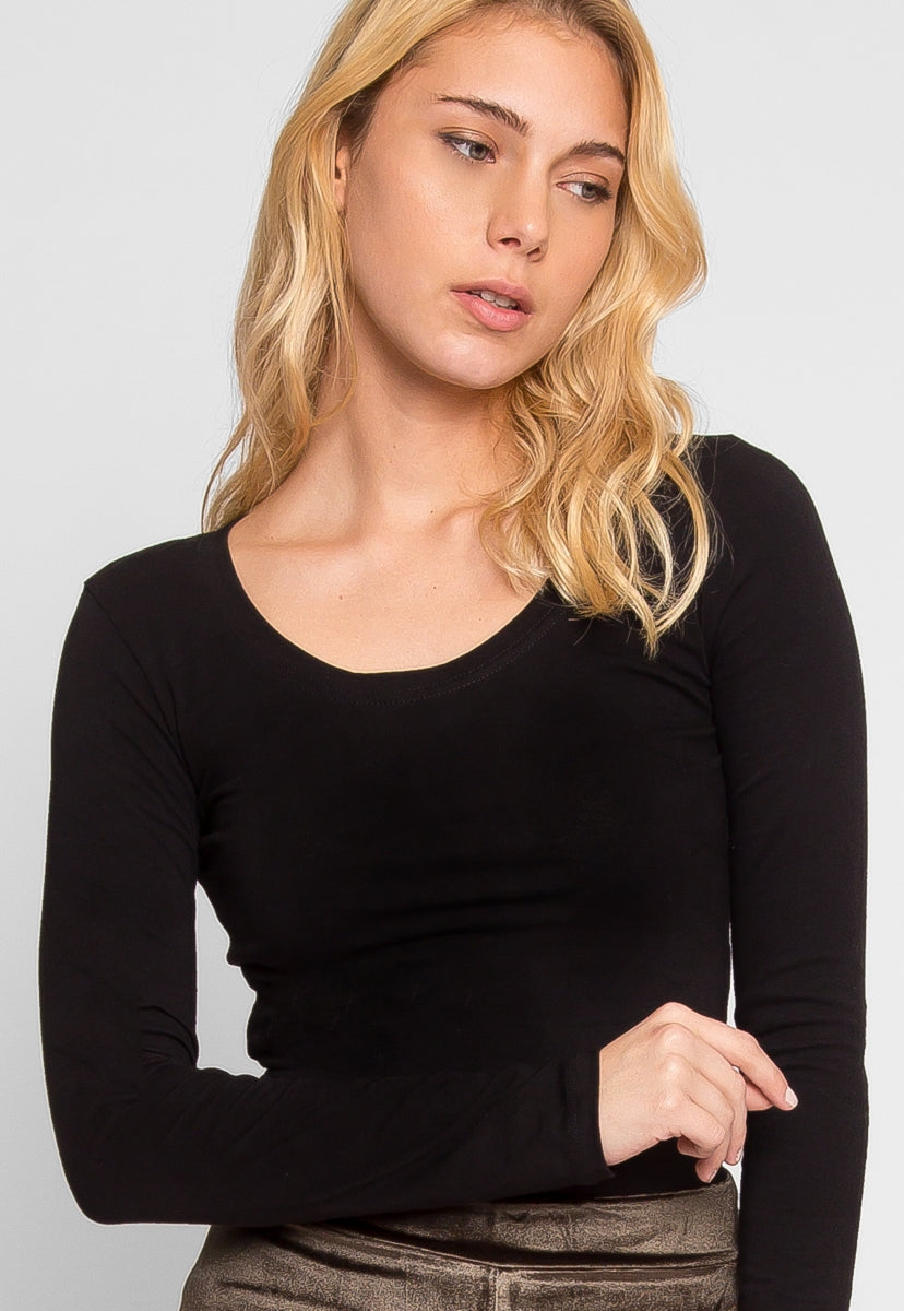 Seal Up Long Sleeve Tee in Black - T-shirts - Wetseal