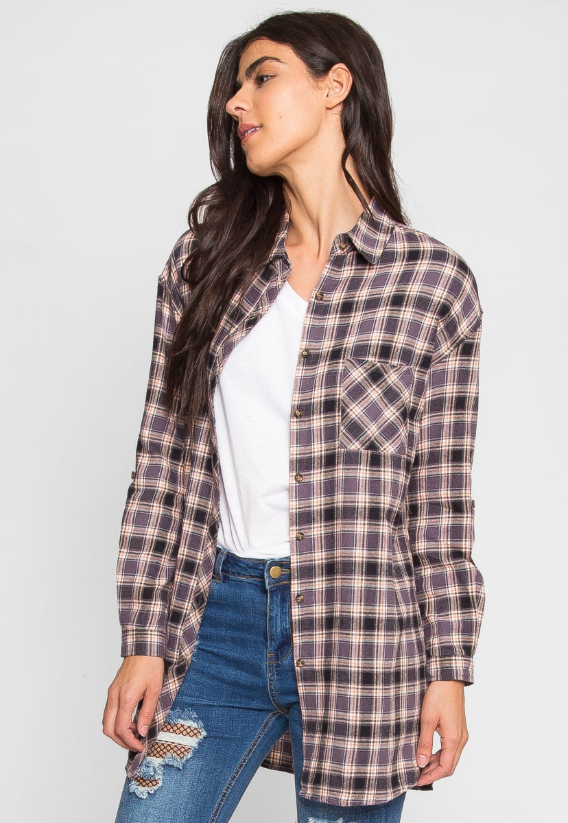 Oversize Plaid Flannel Shirt in Grey - Shirts & Blouses - Wetseal