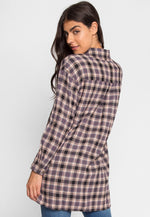 Oversize Plaid Flannel Shirt in Grey